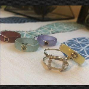 VTG Set 14k Gold Diamond Jade Rings Gemstone Sz 8